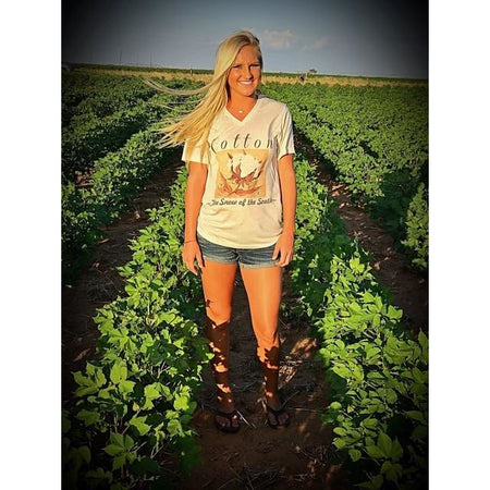 Live Simply ~ Faith, Family, Farm Life on an Oatmeal V-Neck Tee (Fits True to Size)