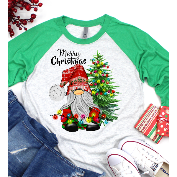 Gnome Christmas on Green Sleeve Raglan (Fits True to Size)