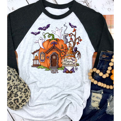 Gnome Halloween on Black Raglan (Fits True to Size)