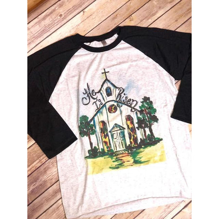 Hoppy Easter on Black Sleeve Raglan (Fits True to Size)