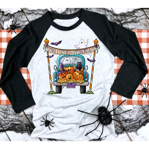 Halloween Truck on Black Raglan (Fits True to Size)