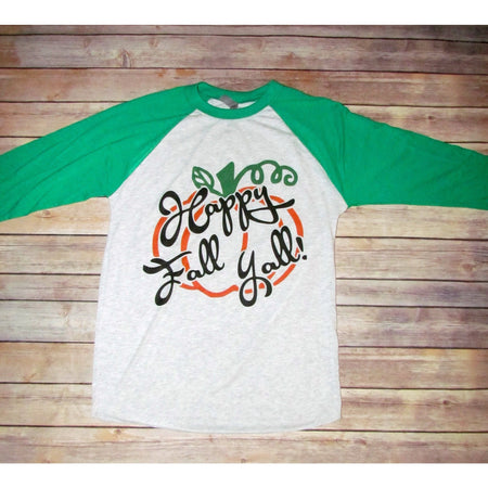 Pumpkin Scarecrow on Taupe Raglan (Unisex Fit)