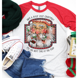 Holly Jolly on Red Sleeve Raglan (Fits True to Size)
