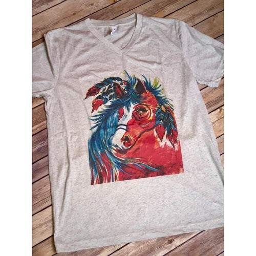 Painted Horse Tee on White Fleck v-Neck (Unisex-Fits True to Size)