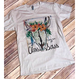 Little Bit of Class Tee on Sand V-Neck Tee (Unisex-Fits True to Size)