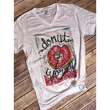 Donut Worry Be Happy on White V-Neck (Fits True to Size)