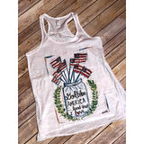 God Bless America on White Racerback Tank (Fits True to Size)