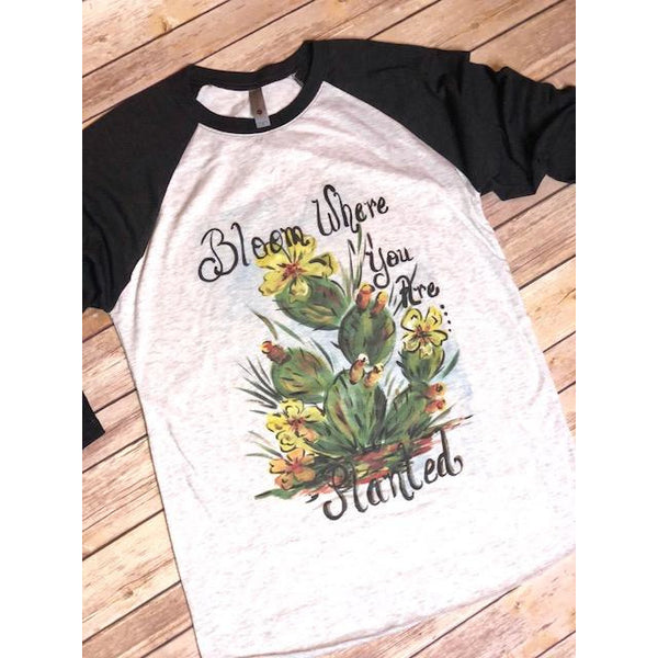 Bloom Where you are Planted on Black Raglan (Fits True to Size)