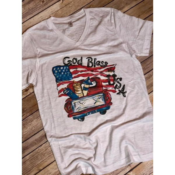 God Bless the USA on White Fleck V-Neck (Fits True to Size)