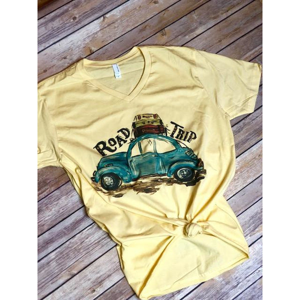 Road Trip on Yellow V-Neck (Unisex - Fits True to Size)