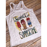 Sweet Summertime Popsicles on White Racerback Tank (Fits True to Size)