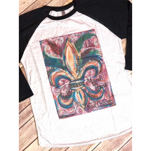 Mardi Gras on Black Raglan (Fits True to Size)