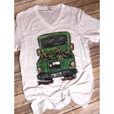 Watermelon Truck on White V-Neck (Fits True to Size)