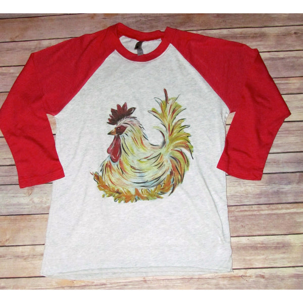 Hand Drawn Chicken Raglan (Unisex Sizing)
