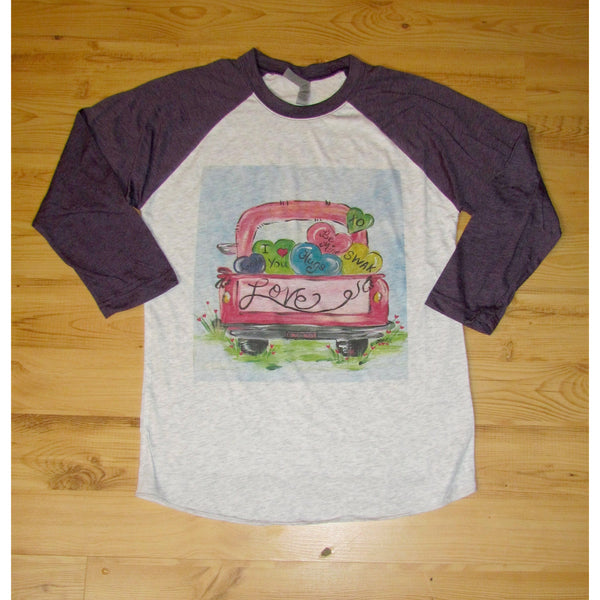 Love Truck on Purple Raglan (Unisex Sizing)