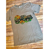 Pumpkin Truck on Taupe V-Neck (Unisex Fit)