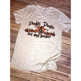 Double Double Toil and Trouble on White Fleck v-Neck (Unisex Sizing)