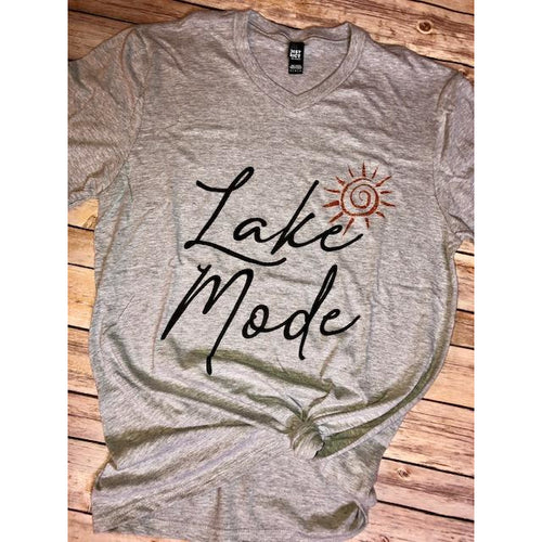 Lake Mode on Grey V-Neck (Fits True to Size)