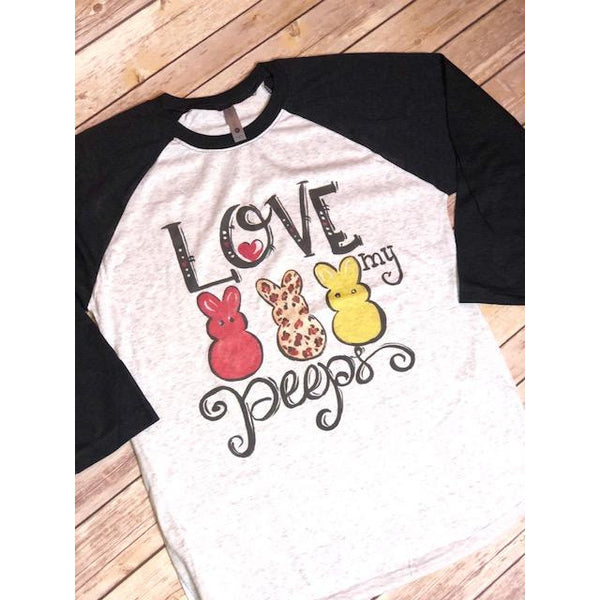 Love My Peeps on Black Sleeve Raglan (Fits True to Size)