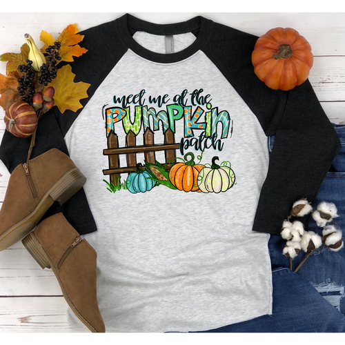 Meet Me At The Pumpkin Patch on Black Raglan (Fits True To Size)