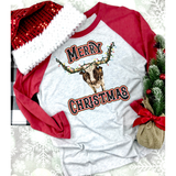 Merry Christmas Longhorn on Red Sleeve Raglan (Fits True to Size)