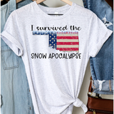 Oklahoma Snow Apocalypse on Heather White Crew Neck (Fits True to Size)