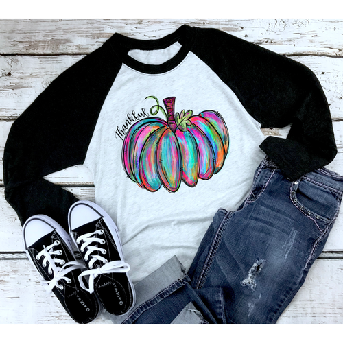 Painted Pumpkin Thankful on Black Raglan (Fits True to Size)