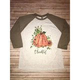 Thankful Pumpkin on Taupe Raglan (Unisex Sizing) Fits True to Size
