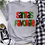 Santa's Favorite on Grey Crewneck (fits True to Size)