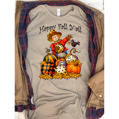 Golden Pumpkin Scarecrow on Silver Crewneck (Fits True to Size)