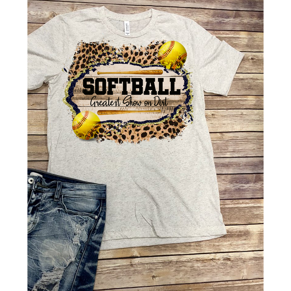 Softball-Greatest Show on Dirt on Oatmeal Crewneck (Fits True to Size)