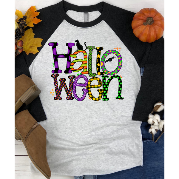 Halloween Fun Letters on Black Raglan (Fits True to Size)