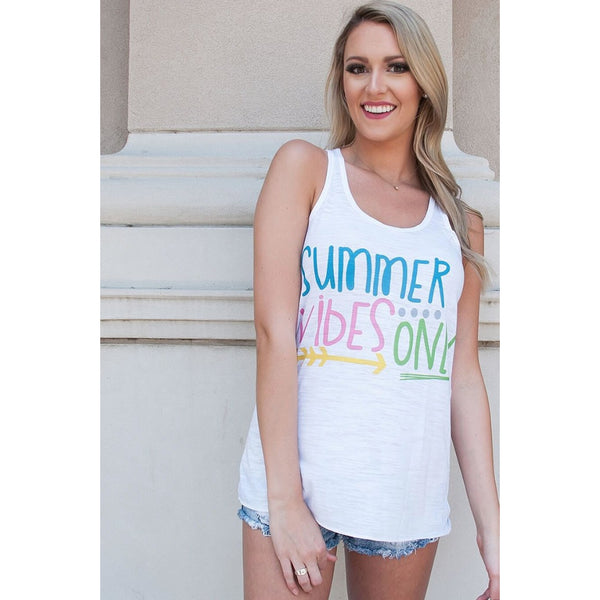 Summer Vibes Only on White Racerback Tank Top (Fits True to Size)