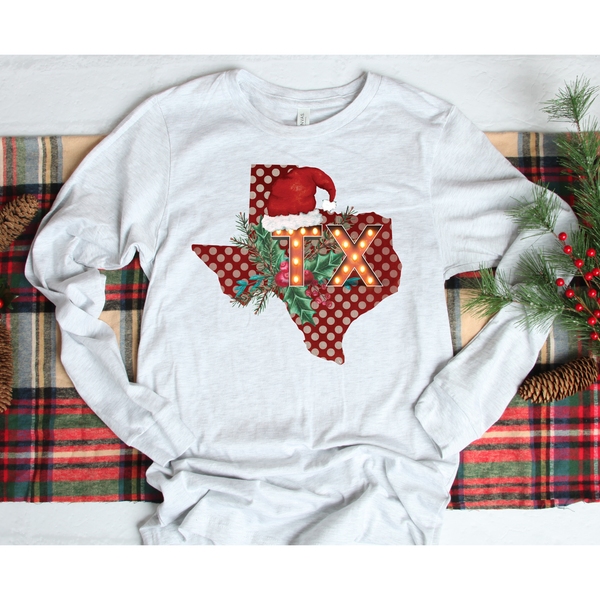 Texas Christmas on Heather White Long Sleeve (Fits True to Size)