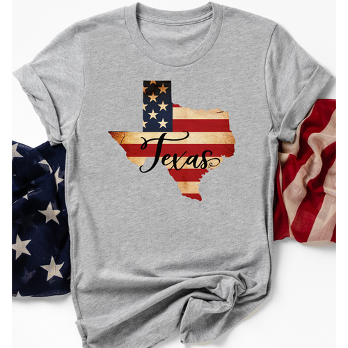 Texas Pride on Grey Crew Neck (Fits True to Size)