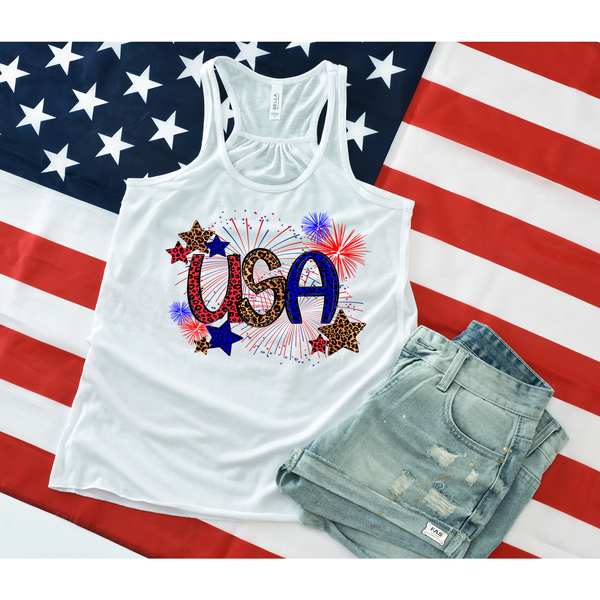 Leopard USA on White Racerback Tank