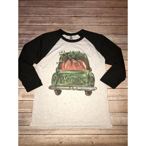 Welcome Fall on Black Raglan (Unisex Sizing) Fits True to Size