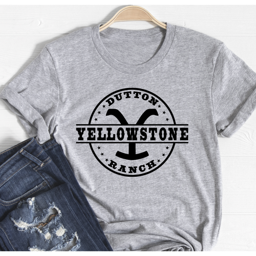 Yellowstone on Grey Crewneck (fits True to Size)