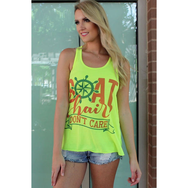 Boat Hair Don't Care on Neon Yellow Racerback Tank Top  (Fits True to Size)