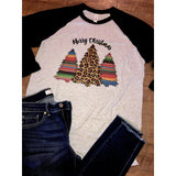 Serape Merry Christmas on Black Raglan (Fits True to Size)