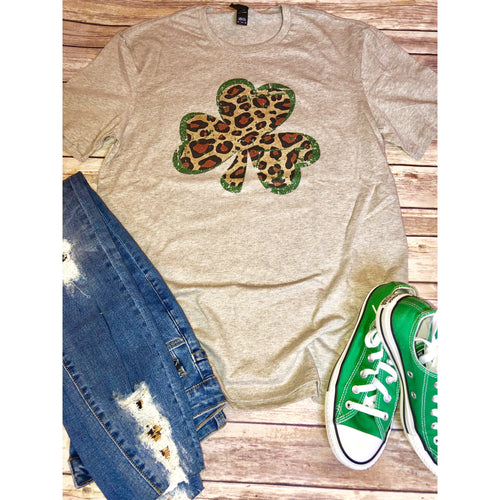 Leopard Shamrock on Latte Crew Neck (Fits True to Size)