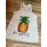 Pineapple Be Sweet on White Racerback Tank