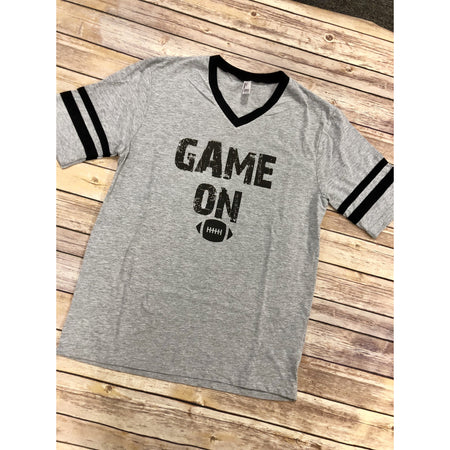 Football Tackles on Grey W/Black Trim Crew Neck (Fits True to Size)