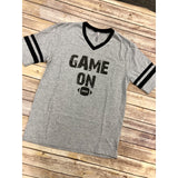 Game on tee on Grey Striped V-Neck (Fits True to Size)