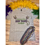 Laissez les bons temps rouler on Grey V-Neck (Fits True to Size)