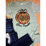 Give Thanks Leopard Pumpkin on Sage Crewneck (Fits True to Size)