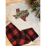 Merry Christmas Texas on Grey Long Sleeve (Unisex Fit)