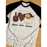 Peace Love Santa on Black Raglan (Fits True to Size)
