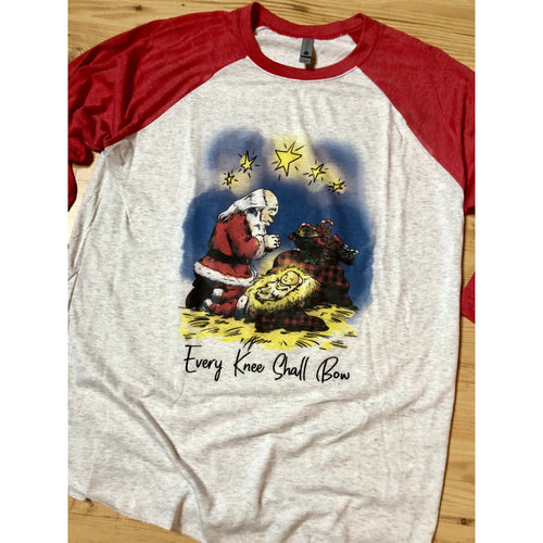 Every Knee Shall Bow on Red Raglan (Fits True to Size)