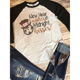 New Year Wishes on Black Raglan (Unisex Fit)